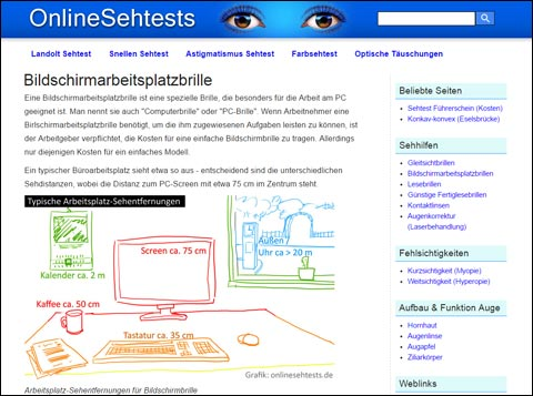 Website OnlineSehtests Homepage